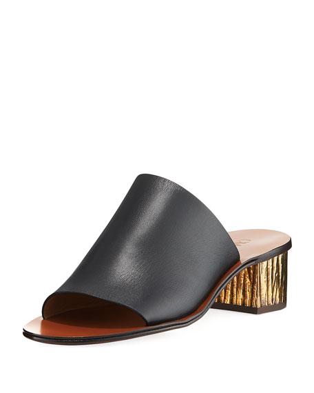 1af2bc71a Chloe Qassie Leather Block-Heel Mule Sandal