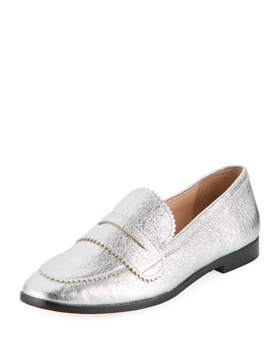 Beatrix Pinked Metallic Loafers, Silver
