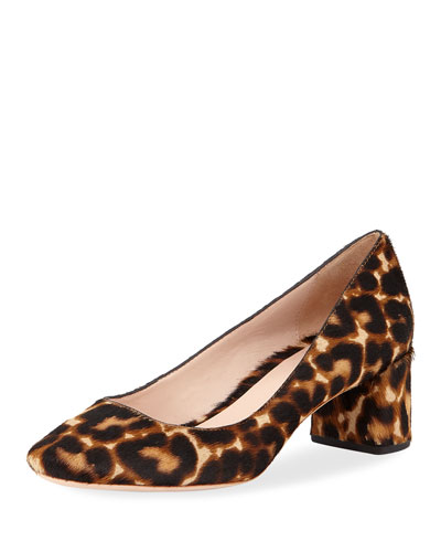 Jane Leopard-Print Round-Toe Mid Pumps