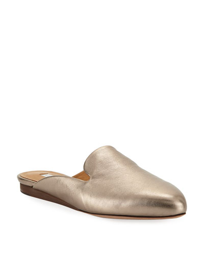 Greyson Flat Metallic Leather Mules