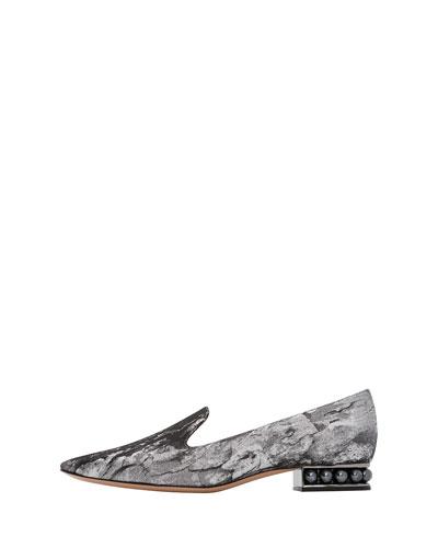 Casati Pearly-Heel Marble Metallic Fabric Loafers