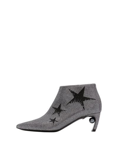 Mira Star Jacquard Low Pearl-Heel Booties