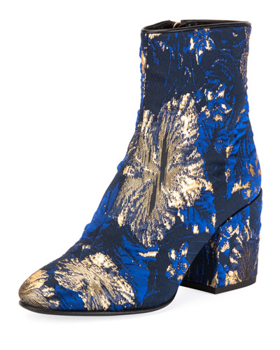 Floral Jacquard Ankle Booties