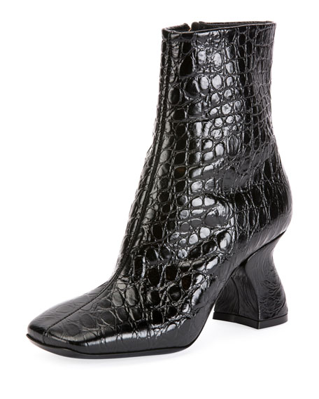 87a9da038bf8b8 Dries Van Noten Croc-Print Ankle Boots with Curved Heel