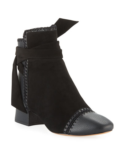 Catherine Suede/Leather Low-Heel Booties with Crochet Detail