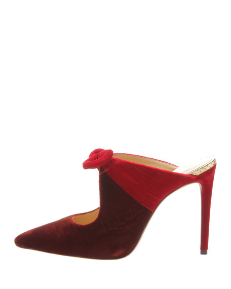 Alexandre Birman High Velvet Pointed 100mm Mules w/