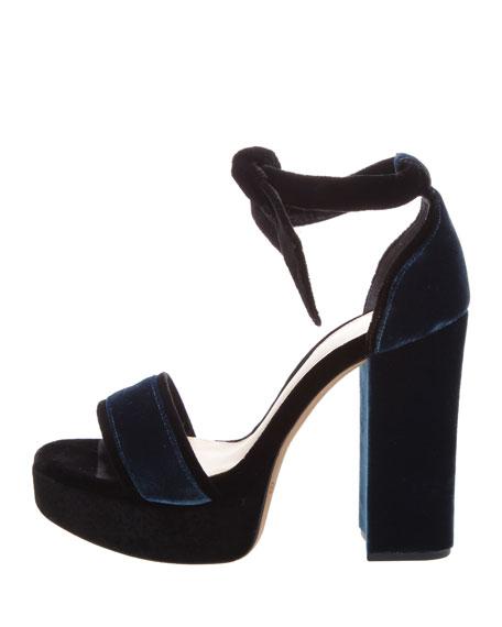 Alexandre Birman Celine Velvet Platform 120mm Sandals