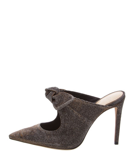 Knotted High Pointed 100Mm Mules, Silver