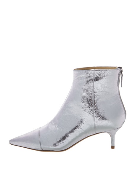 Alexandre Birman Kittie Metallic Leather Low-Heel Point-Toe