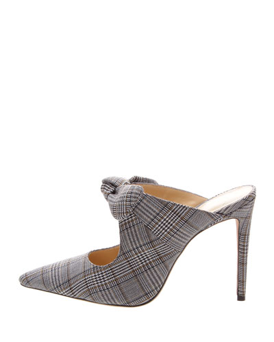 Evelyn Plaid and Houndstooth Mules with Bow