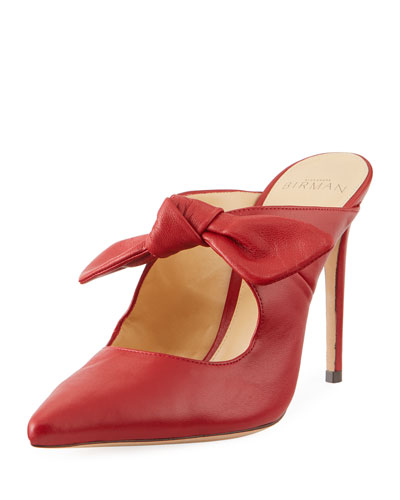 High-Heel Leather Point-Toe Bow Mules