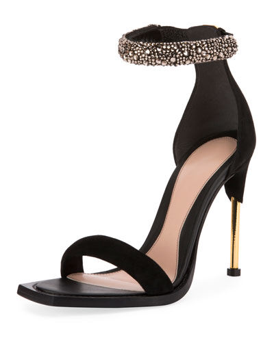 Velvet High Sandals w/ Embellished Ankle Strap
