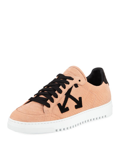 Carryover Snake-Print Leather Lace-Up Sneakers