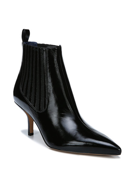 Mollo Pointed Leather Booties in Black