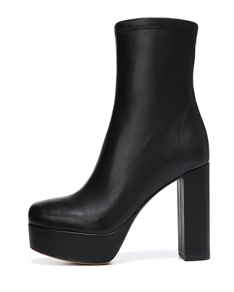 Yasmine Leather Platform Ankle Boots in Black