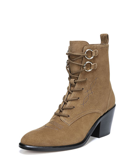 Dakota Sport Suede Lace-Up Boots in Sand