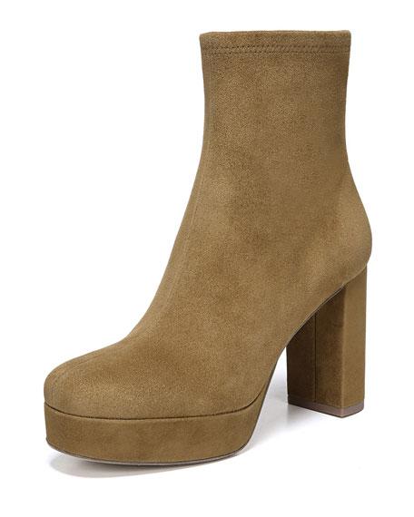 DIANE VON FURSTENBERG Yasmine Suede Platform Ankle Boots in Brown