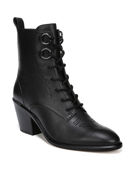 Dakota Lace-Up Leather Ankle Boots in Black