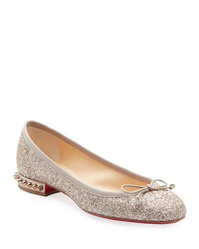 La Massine Glitter Spike Red Sole Ballet Flats