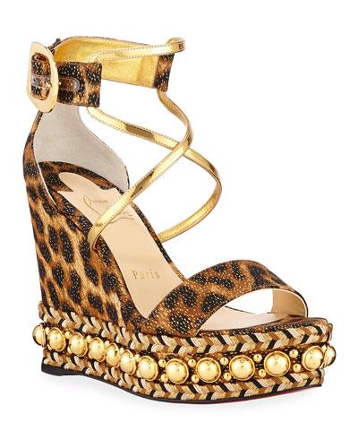 Chocazeppa Leopard Wedge Red Sole Espadrille Sandals