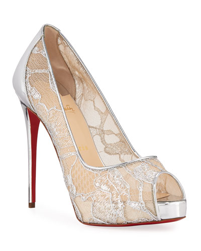 Very Lace 120mm Metallic Peep-Toe Red Sole Pumps