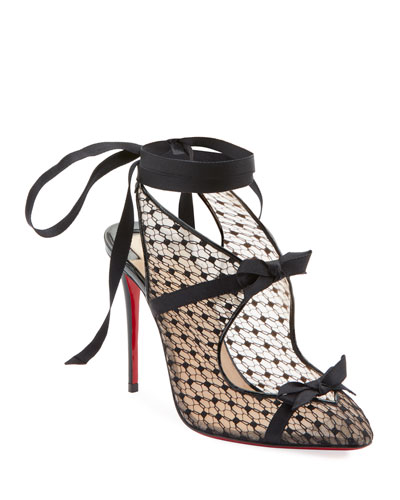 Directoire Fishnet Red Sole Pumps with Bows