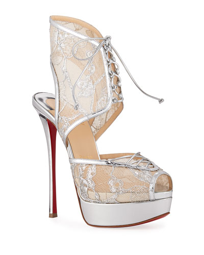 022d57bc8a7b Jose Altafine Metallic Lace Red Sole Sandals Quick Look. Christian Louboutin