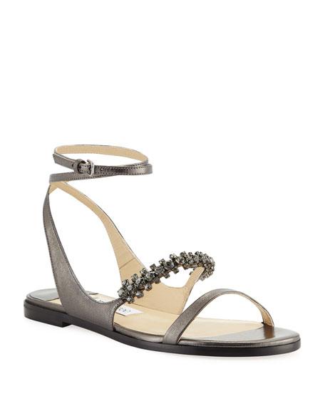 Jimmy Choo Abira Metallic Leather Jeweled Sandals
