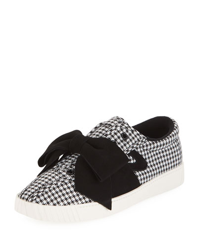 NYLite Lace-Up Houndstooth Sneakers w/ Bow