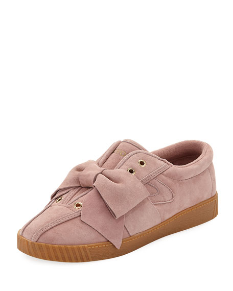 Nylite Silky Suede Lace-Up Sneakers W/ Bow, Pink
