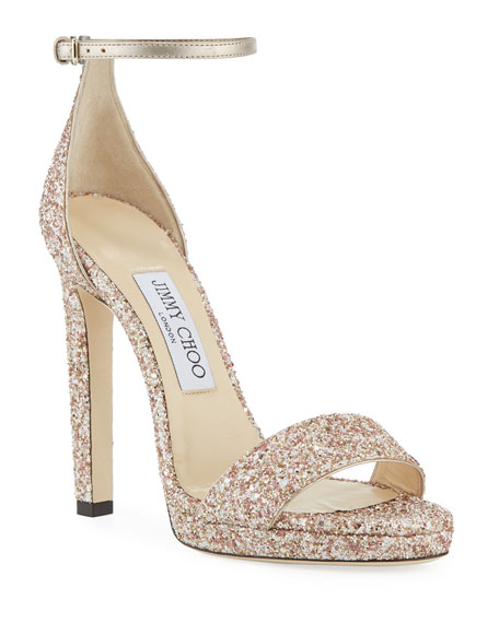 Jimmy Choo Misty Glitter Platform Sandals