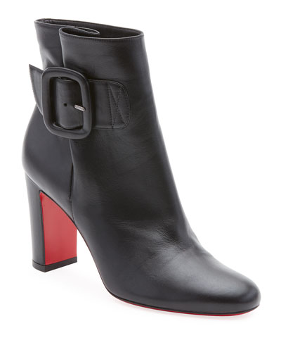Tres Olivia Napa Leather Buckled Red Sole Booties