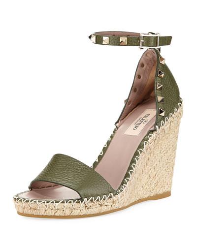 c56dd7fe5a9 Valentino Garavani Rockstud Leather Espadrille Wedge Sandal