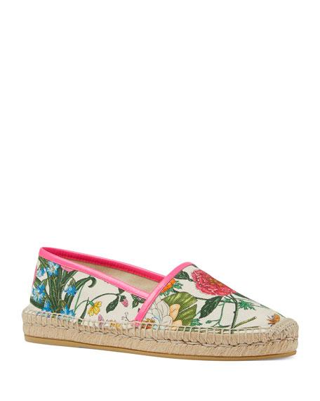 Gucci Floral Canvas Slip-On Espadrilles