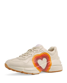 Interlocking G/Heart Leather Sneakers by Gucci