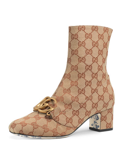 GG Canvas Mid-Heel Booties with GG Detail