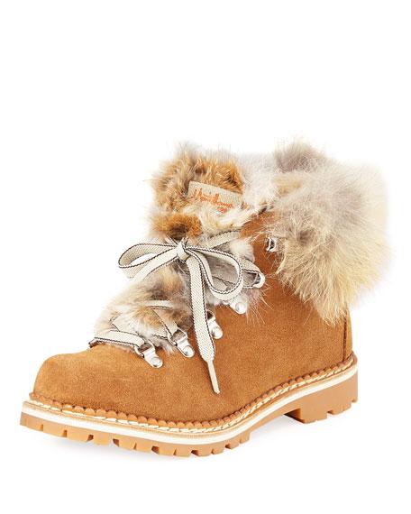 LA MONTELLIANA Margherita Suede Fur-Trimmed Boots in Brown