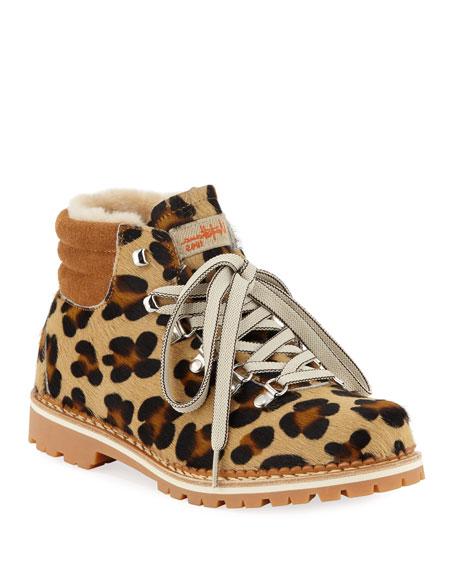 LA MONTELLIANA Margherita Fur Lace-Up Boots in Leopard