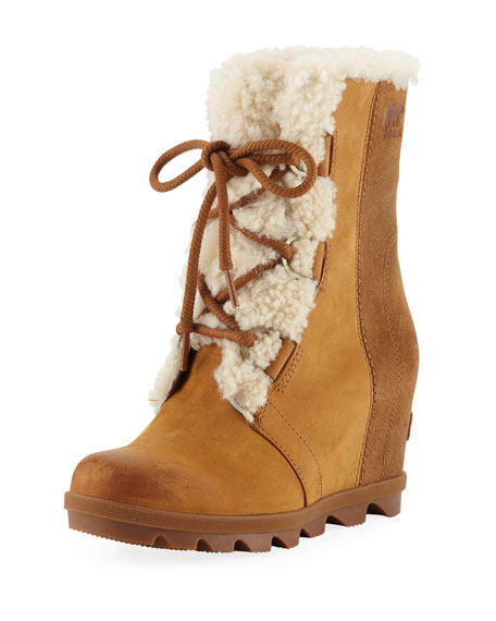 Women'S Joan Of Arctic Waterproof Shearling Hidden Wedge Cold-Weather Boots, Camel