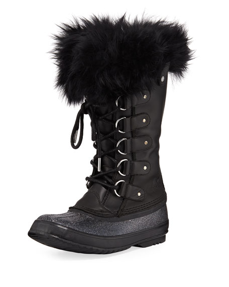 Joan Of Arctic Lux Waterproof Cold-Weather Glitter Boot With Fur, Black