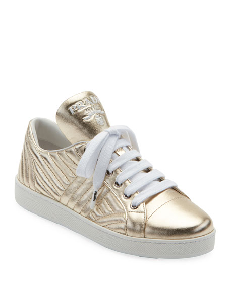 Quilted Metallic Leather Sneakers, Pirite