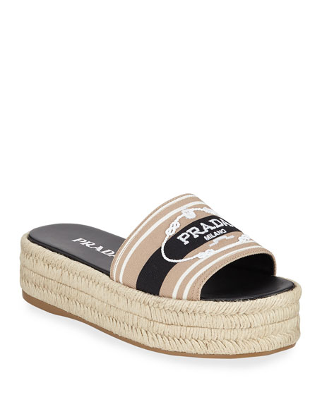 Prada Logo Embroidered Slide Espadrilles