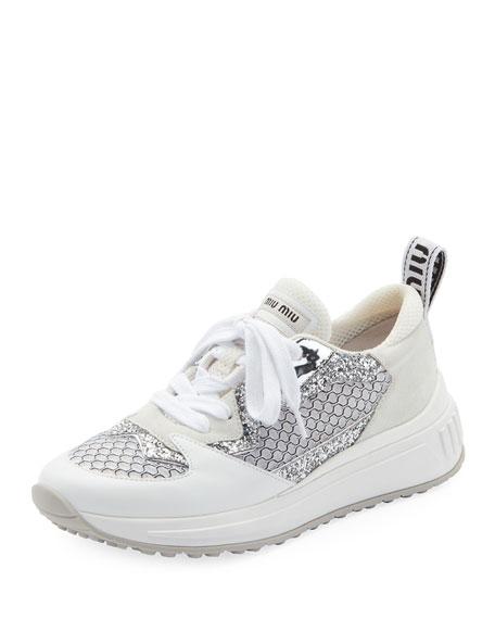 Miu Miu Mixed Media Platform Sneakers