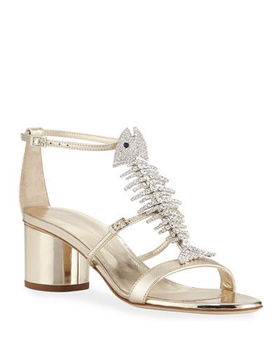 c40ff982c Metallic Leather Fishbone Sandals Quick Look. Giuseppe Zanotti