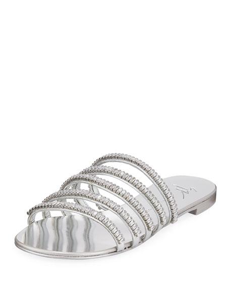 Crystal Metallic Flat Sandals