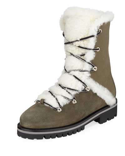 High-Top Combat Boots with Shearling Trim