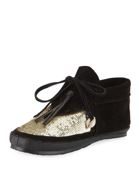 Embellished Desert Moccasin Booties, Black/Gold