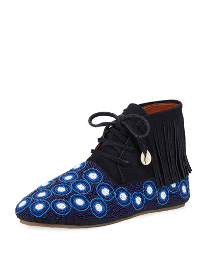 Beaded Dots High-Top Wolf Moccasin Booties