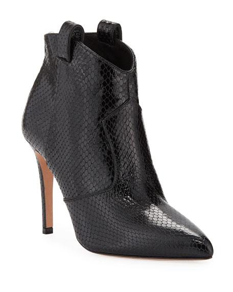 Loretta Embossed Leather Western Booties, Black