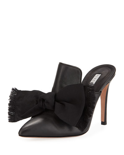 Penn Leather Mules with Bow